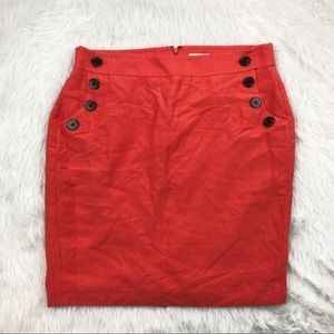 Loft Bright Coral Skirt with Button Pockets